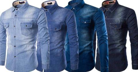 Combo of 4 single-tone regular sale 100% cotton thick men's long sleeve cool denim shirts
