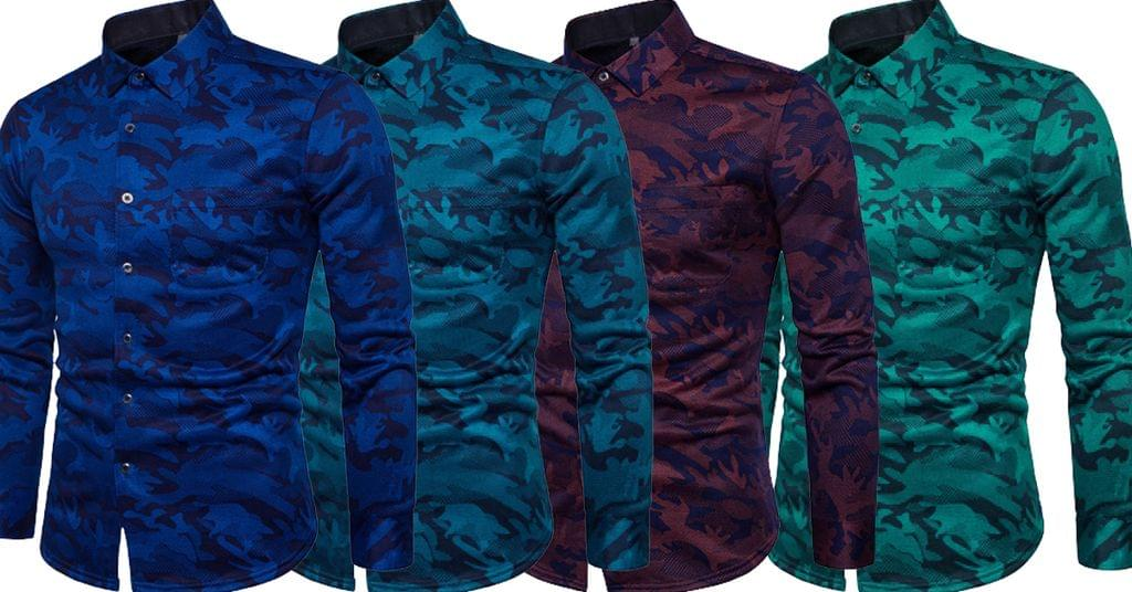 Combo of 4 Branded Army Style Printed Slim Men's Leisure Shirts