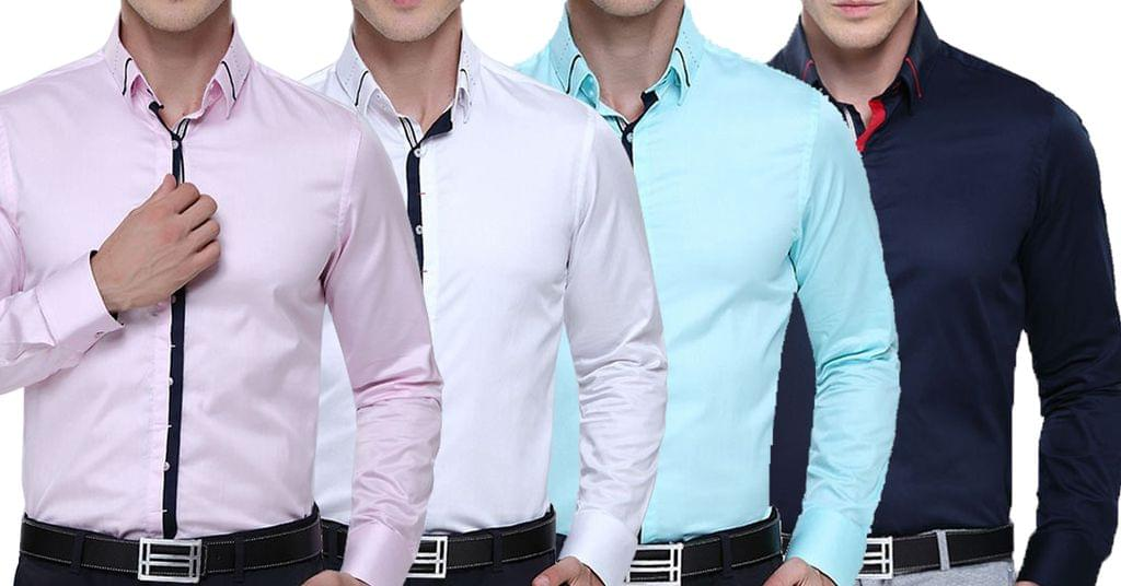 Combo of 4 Fashionable Italian Design Long Sleeve Original Collar High Quality Cotton Shirts for Men