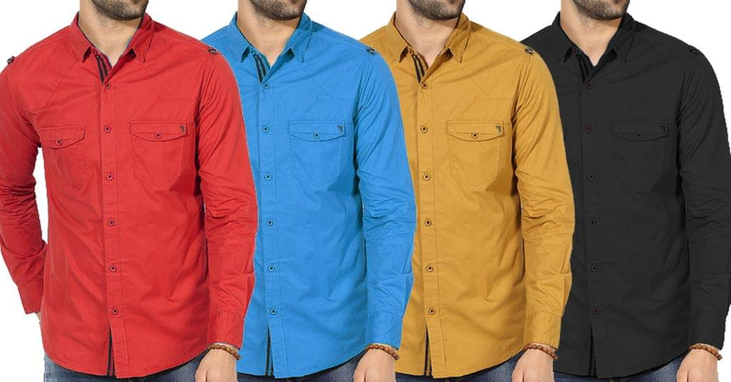 Combo of 4 New Branded Fashionable Solid Slim Fit Casual Shirts