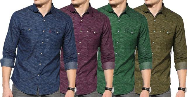 Combo of 4 New Printed Slim Fit Casual Shirts