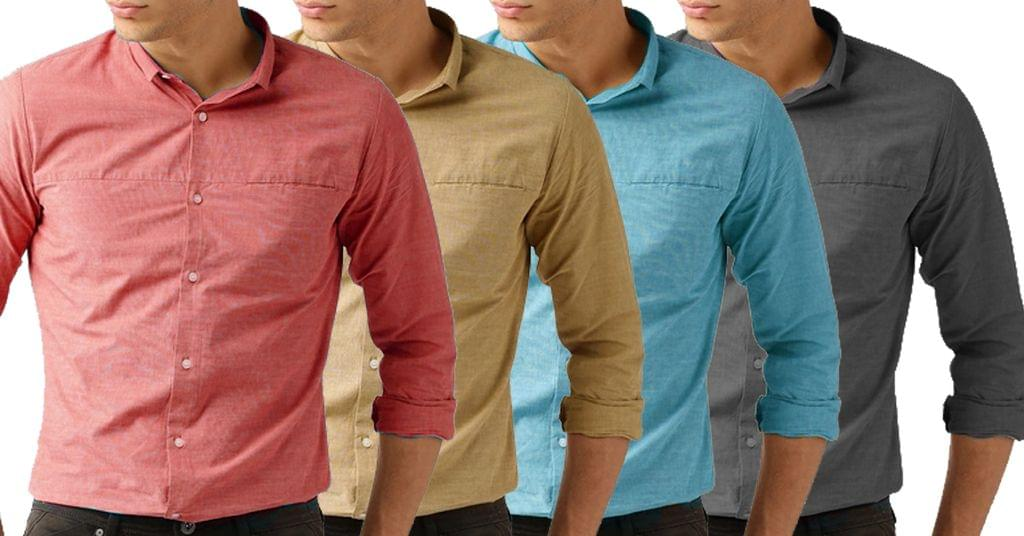Combo of 4 New Stylish Solid Regular Fit Casual Shirts