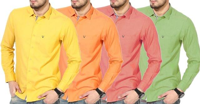Combo of 4 New Stylish Solid Slim Fit Casual Shirts