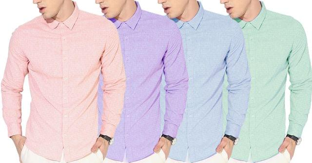 Combo of 4 New Stylish Textured Slim Fit Casual Shirt