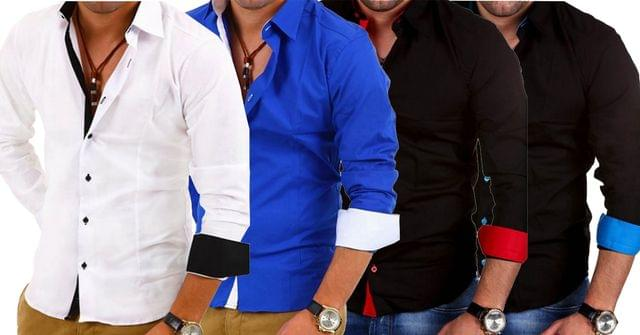 Combo of 4 High Quality Long Sleeve Casual Hit Color Slim Fit Man Shirts