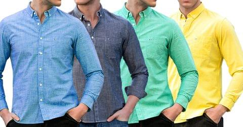 Combo of 4 New Fashion Designer High Quality Solid Long Sleeve Slim fit Shirts