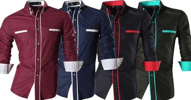 Combo of 4 New Fashion Casual Long Sleeve Casual Slim Fit Male Shirts