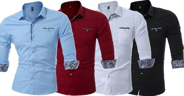 Combo of 4 New Popular Solid Casual Long Sleeve Turn-down Collar Male High Quality Shirts