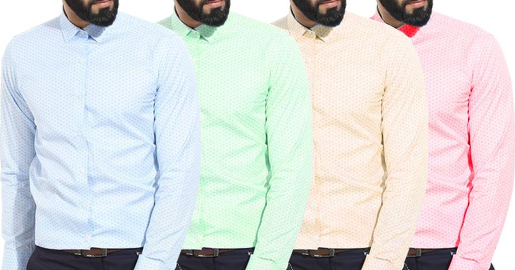 Combo of 4 New Popular Light Printed Slim Fit Formal Shirts