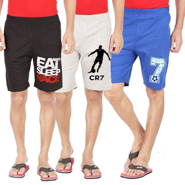 Combo of 3 Fashionable Summer Collection Cotton Self Design Shorts