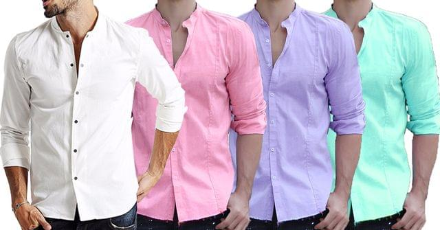 Combo of 4 New fashionable Solid Full Sleeve Single-breasted Fashion Men Shirts