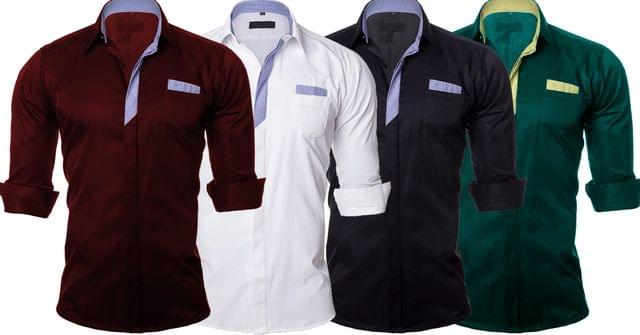 Combo of 4 New Casual Long Sleeve Fashionable Big Size Men's Shirts