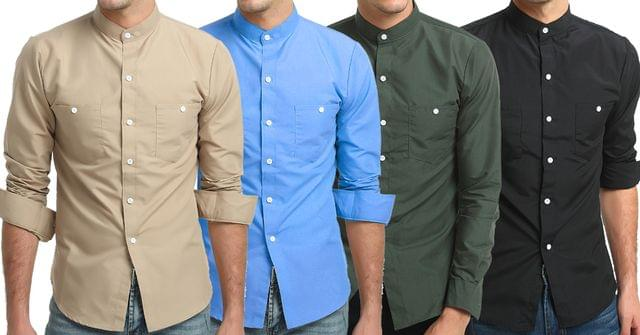 Combo of 4 New Fashion Long-Sleeves Tops Stand Collar Young Solid Color Men's Shirts