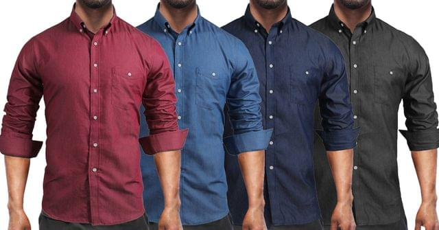 Combo of 4 New Branded Fashionable Casual Turn-down Collar Long Sleeve Shirts For Men