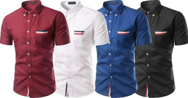 Combo of 4 New Branded Dashing Personality Slim Fit Designer Solid Color Short Sleeve Shirts for Men