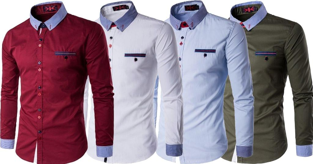 Combo of 4 New Branded Long Sleeve Mandarin Collar Slim Fit Men's Shirts