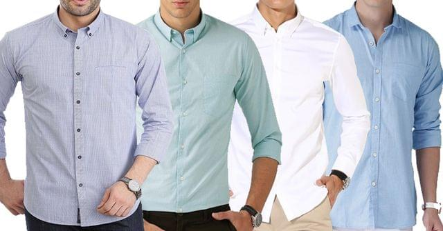 Combo of 4 New Branded Long Sleeve Solid Color Slim Fit Casual Shirts