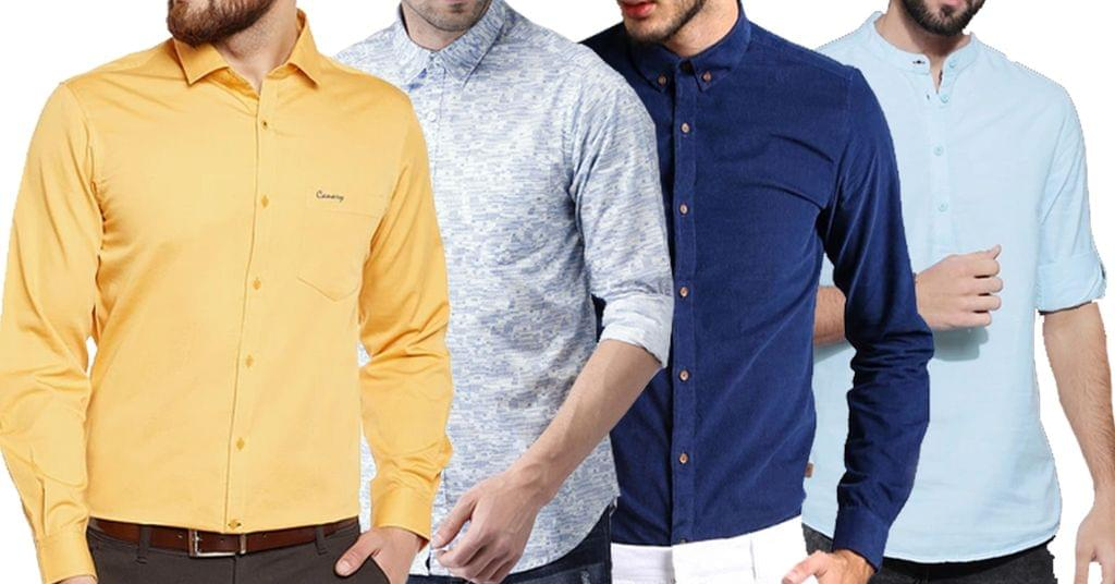 Combo of 4 New Branded Different Style Multi Color Solid Slim Fit Formal Shirts