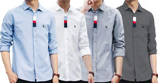 Combo of 4 New Fashion Good Quality Men's Long Sleeve Embroidery Shirts