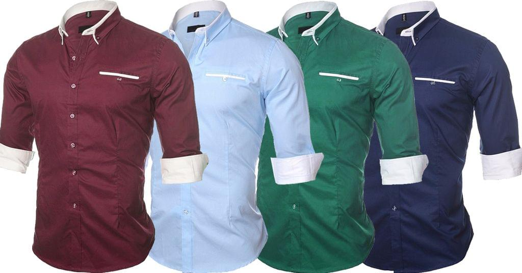 Combo of 4 New Solid Color Casual Long Sleeve Men's Shirts