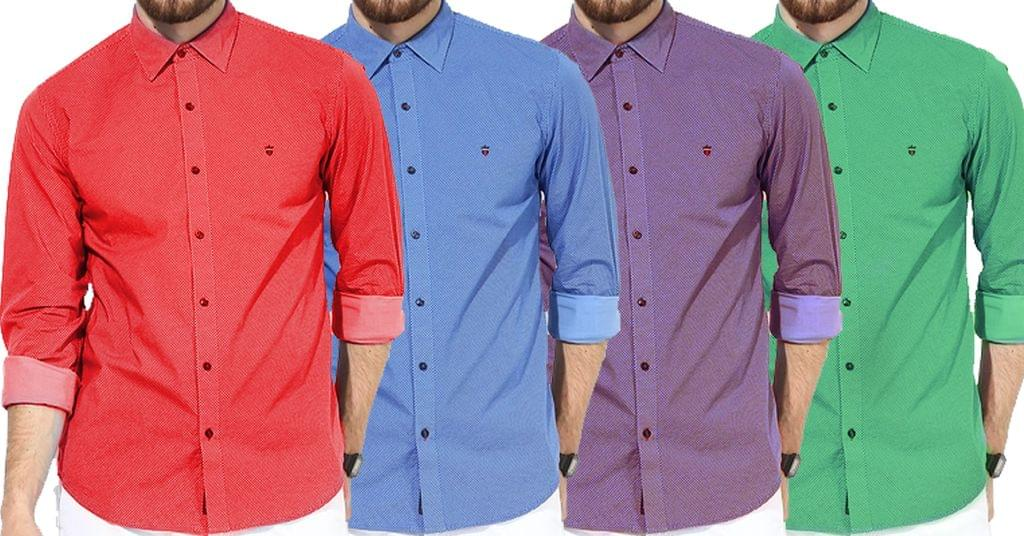 Combo of 4 New Branded Men's Plaid Long Sleeve Slim Fit Casual Fashionable Shirts