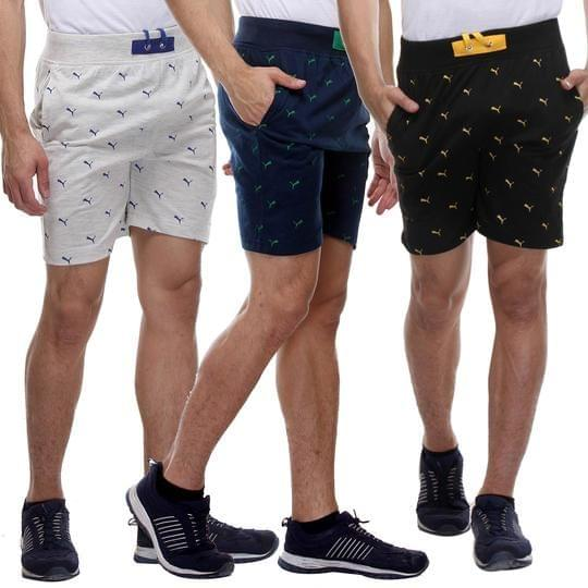 Combo of 3 Fashionable Printed Multi Color Cotton Shorts