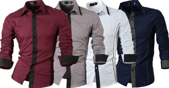 Combo of 4 Branded Casual Men's Long Sleeve Casual Slim Fit Shirts