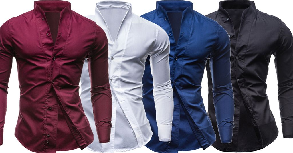 Combo of 4 Branded Fashionable Long Sleeve Casual Stylish Collar Slim Fit Men's Shirts