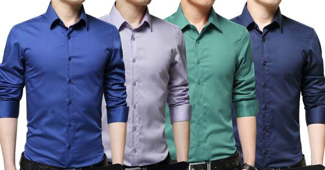 Combo of 4 Branded Fashionable Long Sleeve Casual Cotton Shirt Men's Shirts