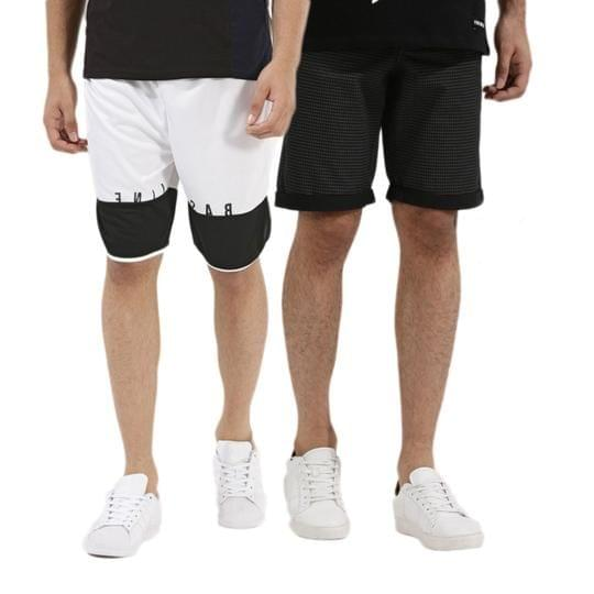 Set of 2 Branded Stylish Black and White Color Combination Simple Shorts