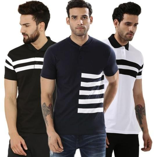 Pack of 3 Premium Quality Solid Color Linen design T shirts