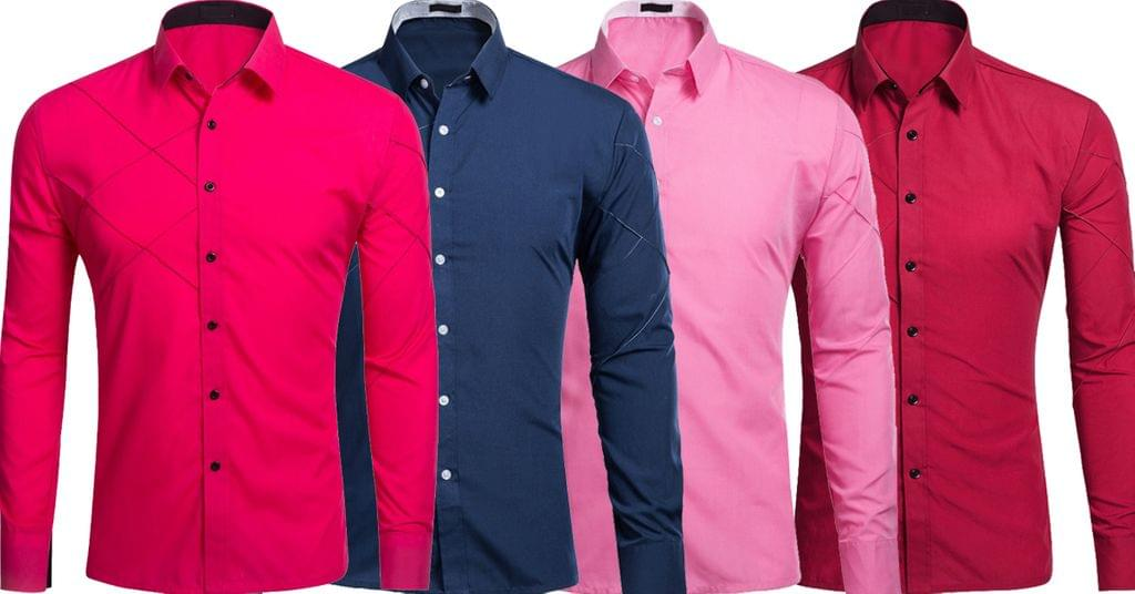 Combo of 4 Genuine New Striped Style Slim Fit Long sleeve Men's Shirts