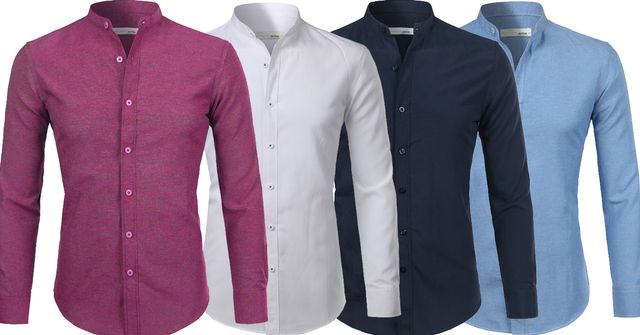 Combo of 4 New Branded Cotton Casual Slim Fit Stand Collar Mens Shirts