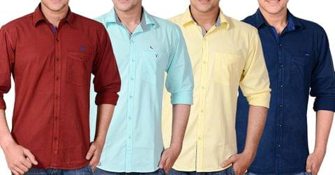 Combo of 4 New Branded Cotton Casual Shirts for Men
