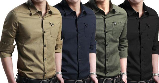 Combo of 4 New Fashion Male Shirt Long-Sleeves Slim Casual Solid Color Men's Shirts