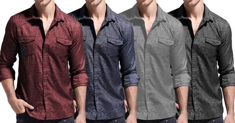 Combo of 4 New Casual Fashion Style Men's Long Sleeve Top Quality Outwear Shirts