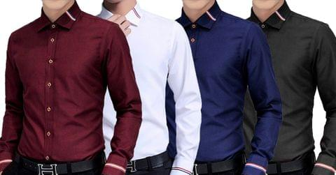 Combo of 4 New Branded Casual Slim Fit Long-Sleeve Men's Shirts