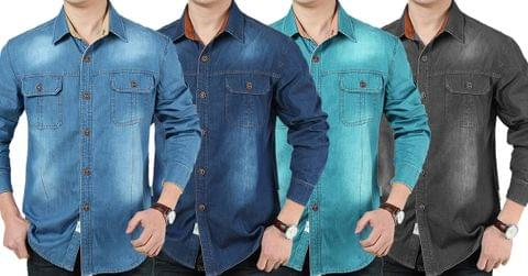 Combo of 4 New Fashion Cotton Long sleeve Slim Stylish Denim Shirts for Men