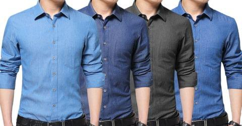 Combo of 4 New Fashion Solid Color Long Sleeve Men's Denim Shirts
