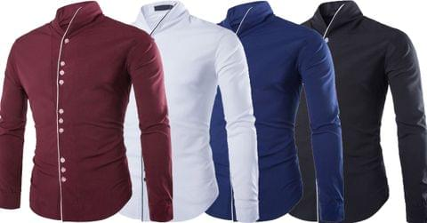Combo of 4 New Fashion Casual Long Sleeve Stand Color Slim Fit Men's Shirts