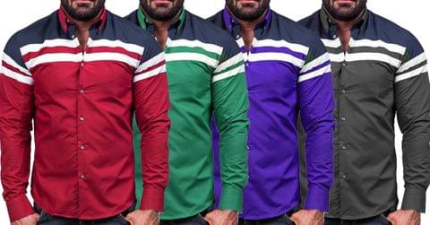 Combo of 4 Fashionable Patch Solid Color Male Casual Long Sleeve Shirts