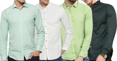 Combo of 4 Fashionable Patch Solid Color Slim Fit Male Casual Long Sleeve Shirts