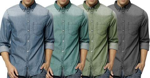 Combo of 4 New Fashion Cotton Long sleeve Slim Stylish Casual Denim Shirts for Men