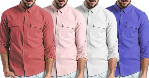 Combo of 4 New Fashionable Slim Fit Cotton Long Sleeve  Vintage Clothing Men's Shirts