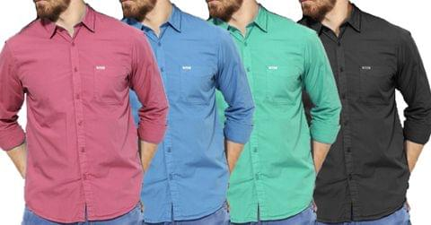 Combo of 4 New Fashionable Solid Colors Regular Fit Casual Men's Shirt
