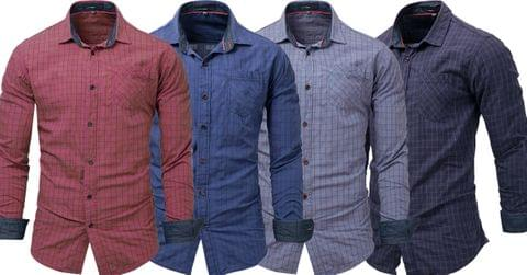 Combo of 4 New Fashionable Plaid Full Sleeve Easy Care Turn Down Collar Cotton check Shirts
