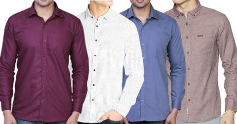 Combo of 4 New Printed Slim Fit Cotton Casual Men's Shirts