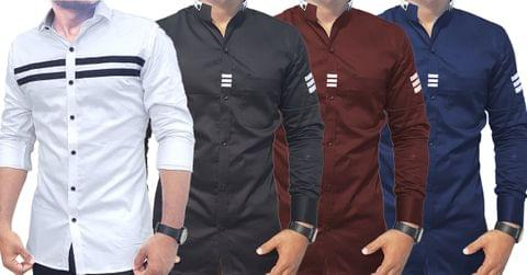 Combo of 4 New Fashionable Casual Cotton Trendy Long Sleeves Slim Fit Men's Shirts