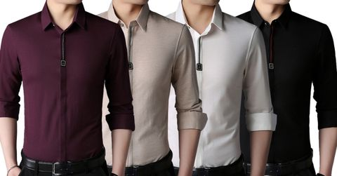 Combo of 4 New Men's Branded Cotton Long Sleeves Turn-down Collar Cardigan Casual Shirts