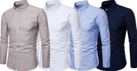 Combo of 4 New Men's Branded Cotton Long Sleeves Polka Dot Slim Fit Men's Shirt